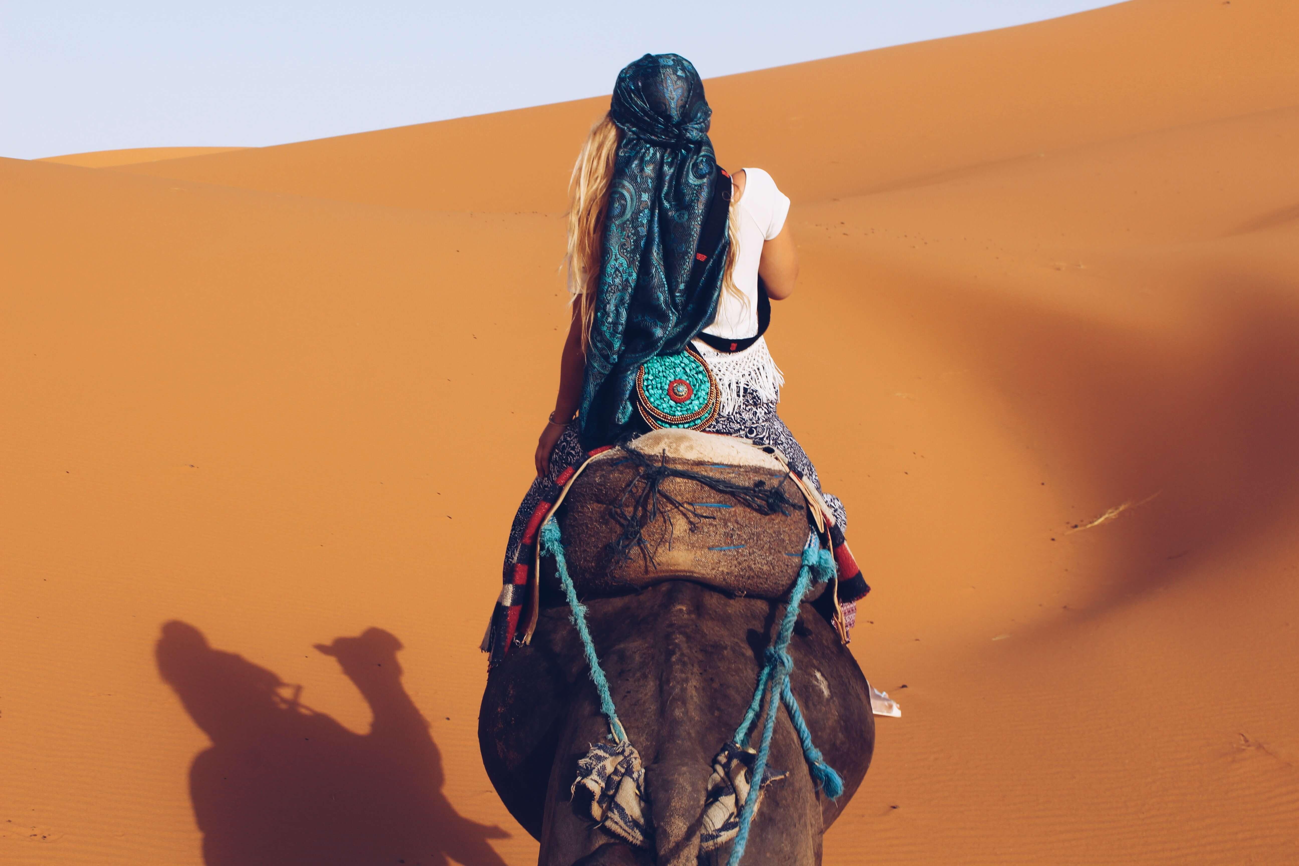 Camel riding in Morocco Sahara desert