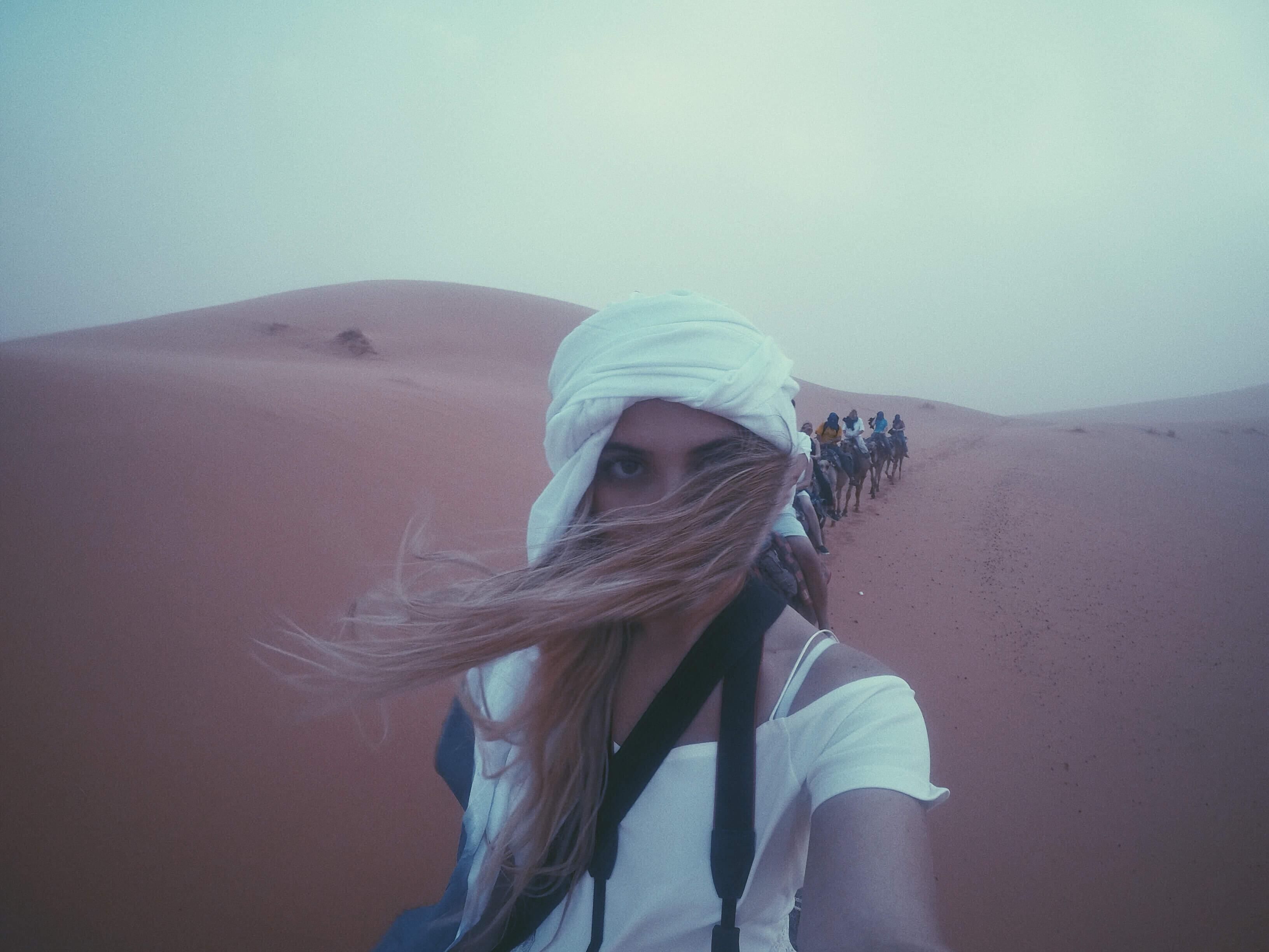 Camel riding in the Sahara desert in Morocco