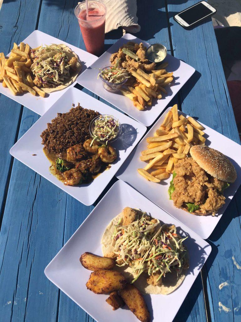 Bahamas food Shoreline bar Great Exuma Prawns