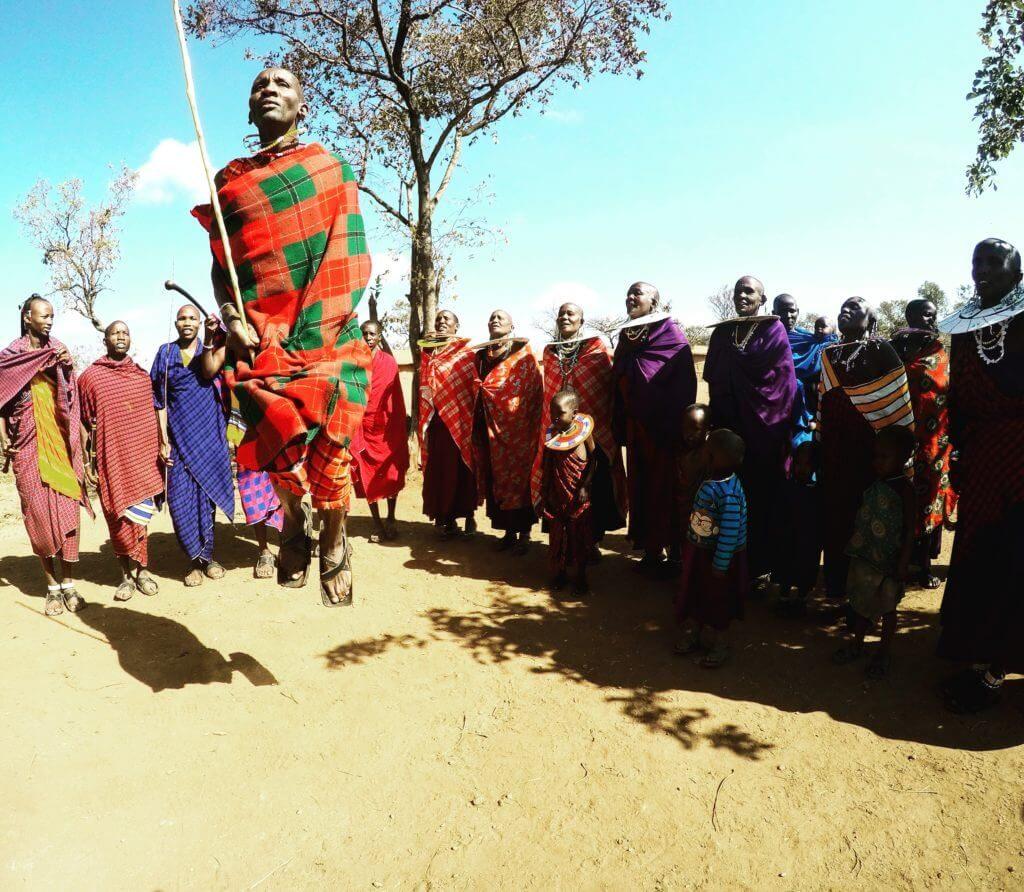 Maasai people welcoming ceremony Tanzania